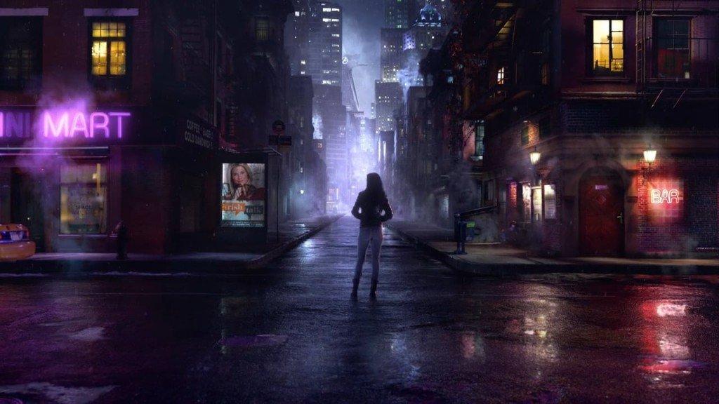 evocative street scene at night from the show Jessica Jones