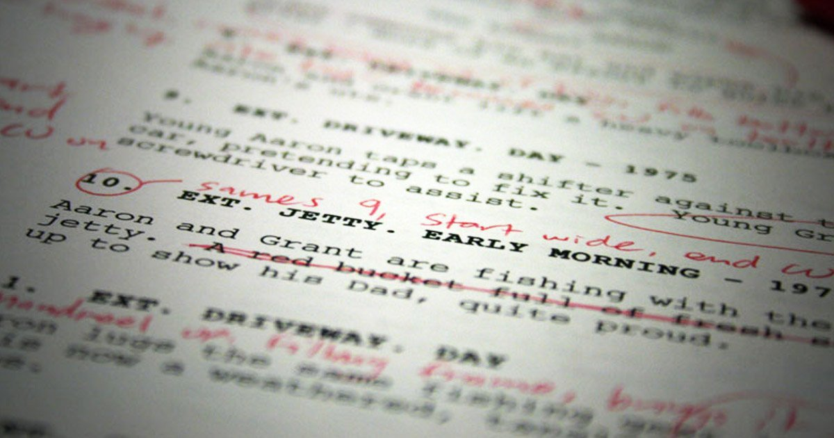 Up close shot of script