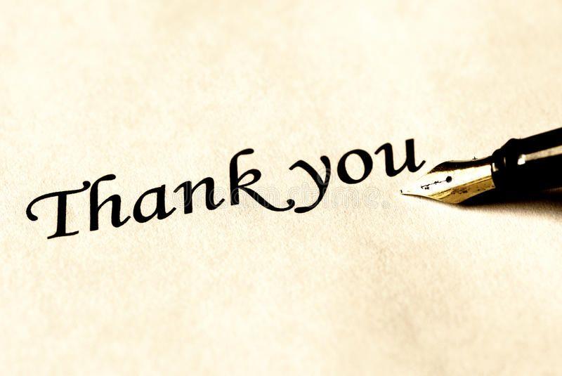 Pen writing thank you